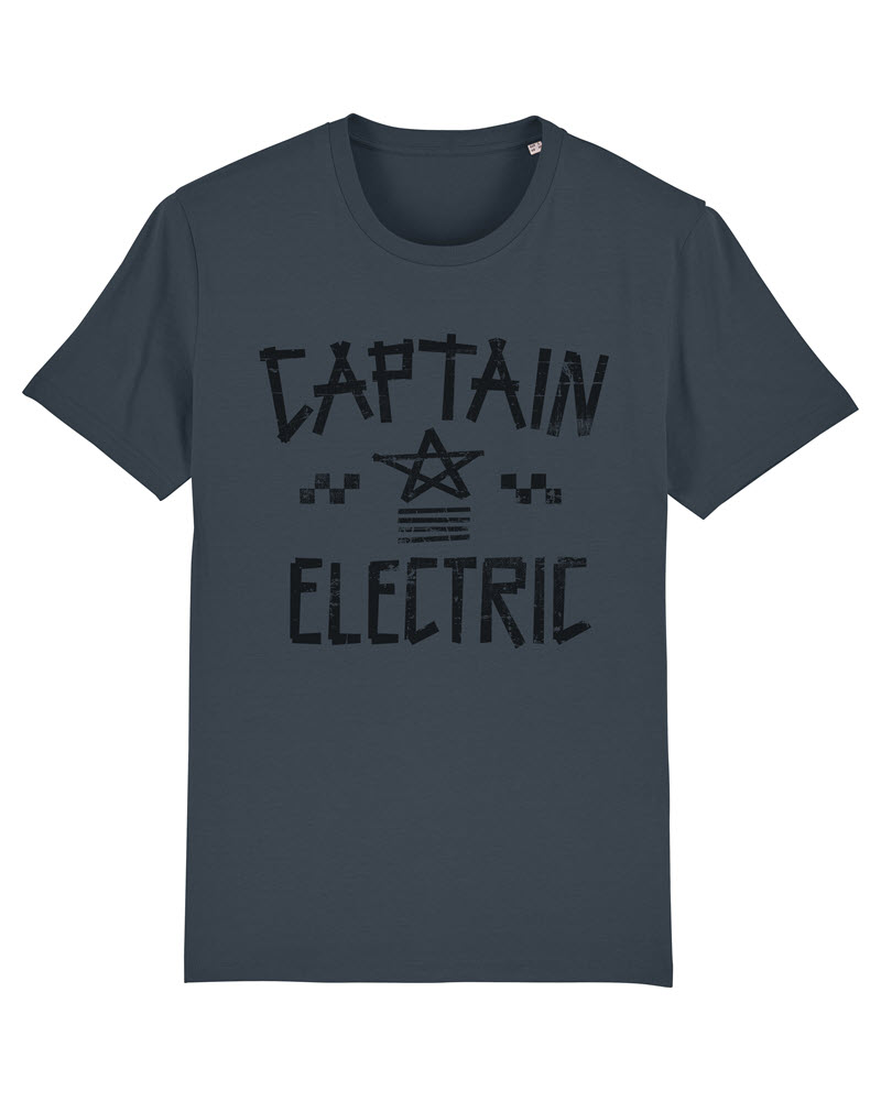 "T-Shirt ""Captain Electric"" india ink grey with black print"